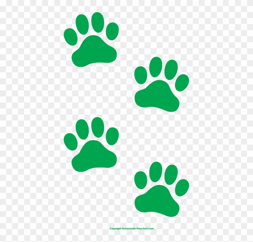 Green Paw Print Clip Art - Red And Green Paw Print #26510