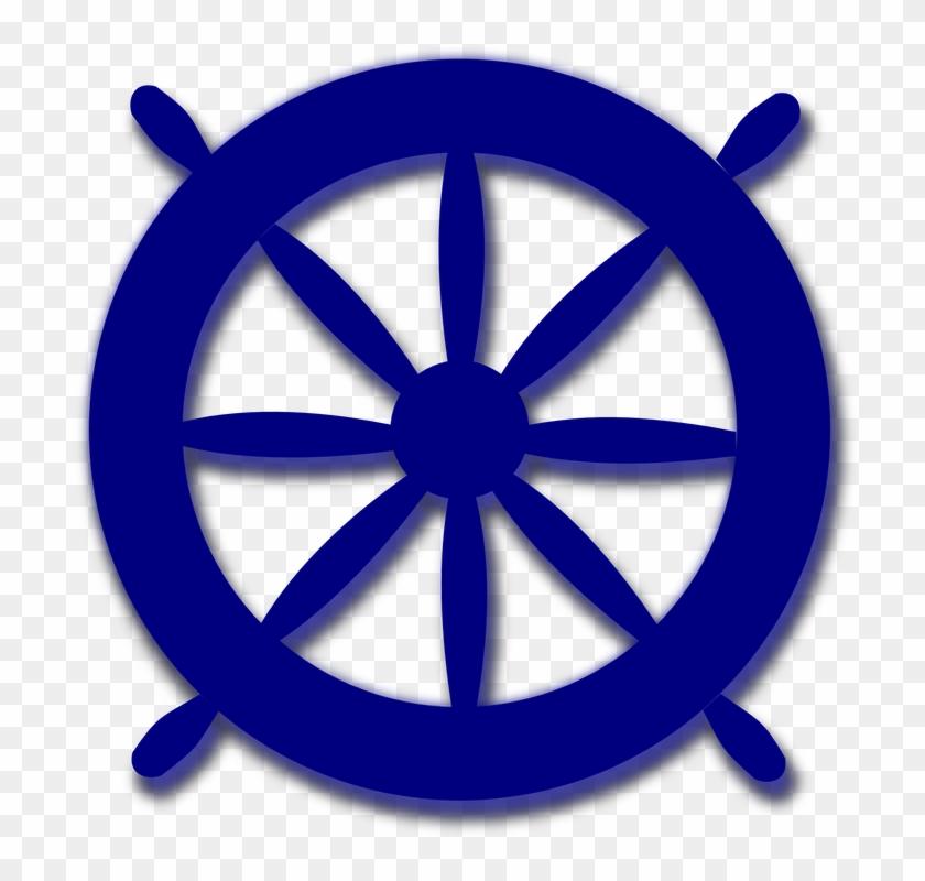 Steering Navigation Blue Wheel Ship Nautical Sea - Ships Wheel Clipart #26562