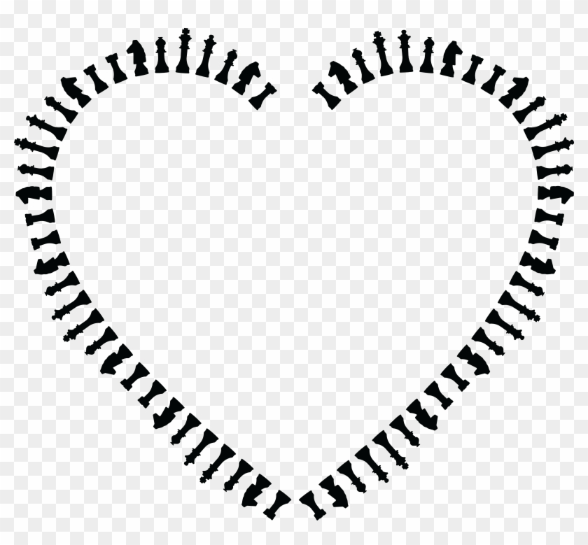 Free Clipart Of A Heart Frame Of Chess Pieces In Black - Heart With Lines Png #26798