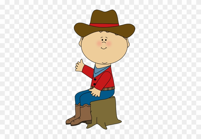 Cowboy Sitting On A Tree Stump - Cowboy Sitting Clipart #26847