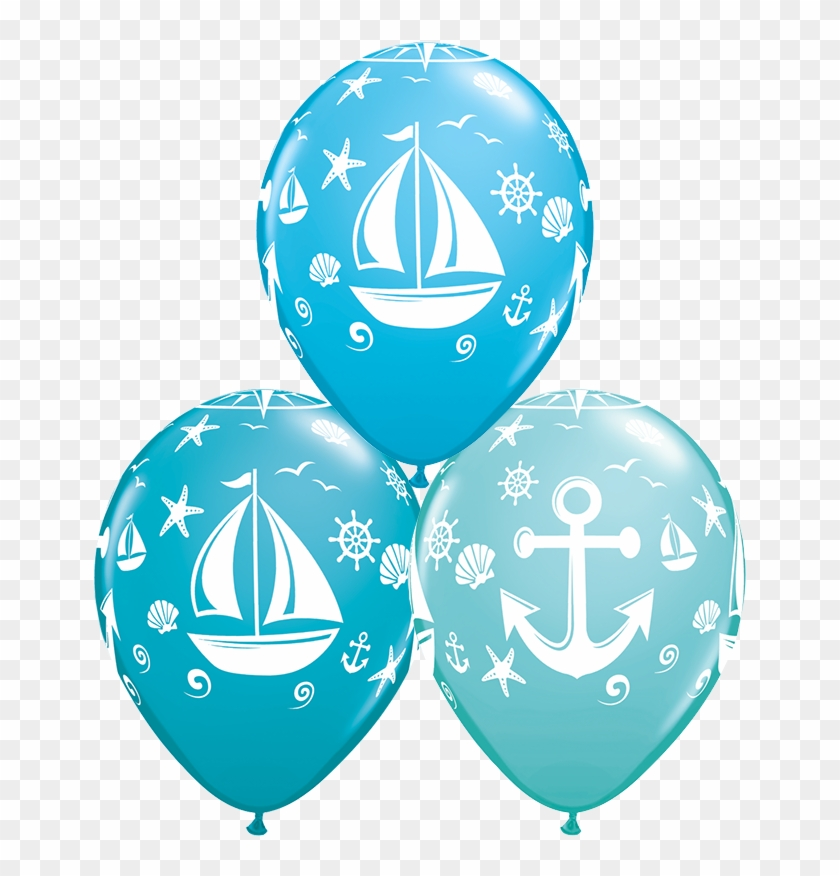 """11"""" Round Special Assorted Nautical Sailboat & Anchor - Qualatex 43430-q Latex Balloons, Special Assortment #26882"""