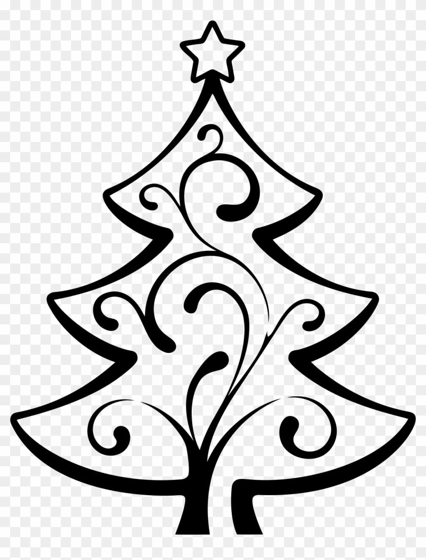 Big Image - Christmas Tree Line Drawing #26894