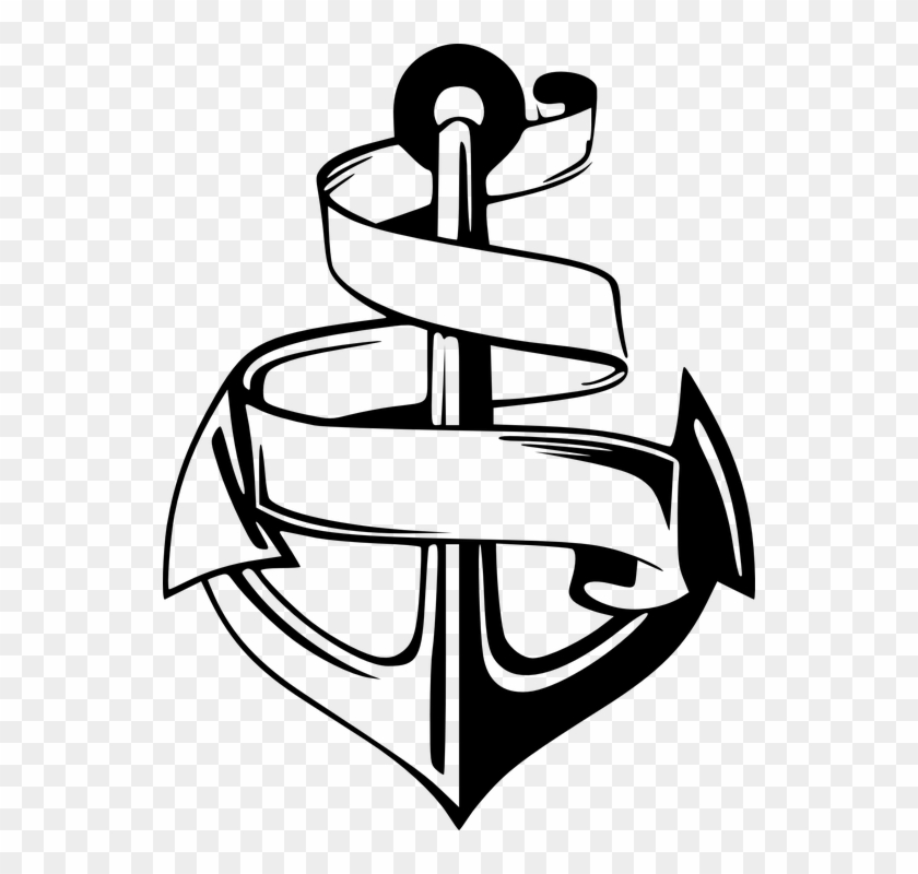 Anchor Nautical Symbol Emblem Banner - Anchor With Banner Svg #27039