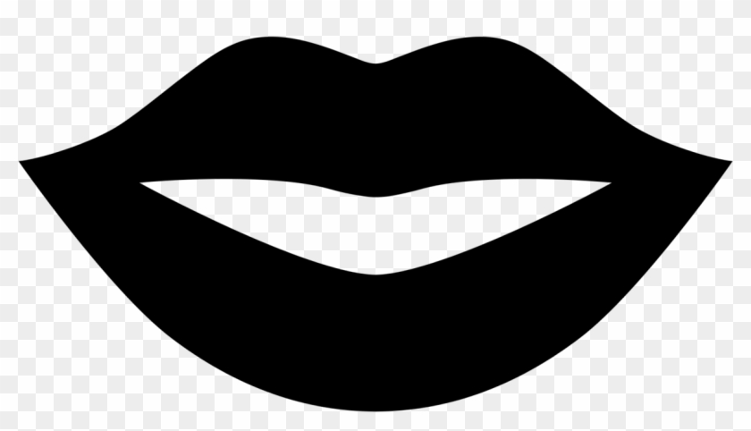 Lips Clipart Black And White - Black Lips Emoji #164905