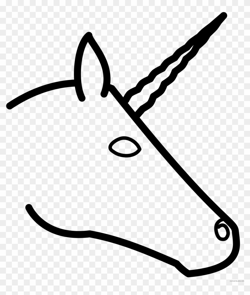 Unicorn Head Animal Free Black White Clipart Images - Draw A Unicorn Head Easy #164911