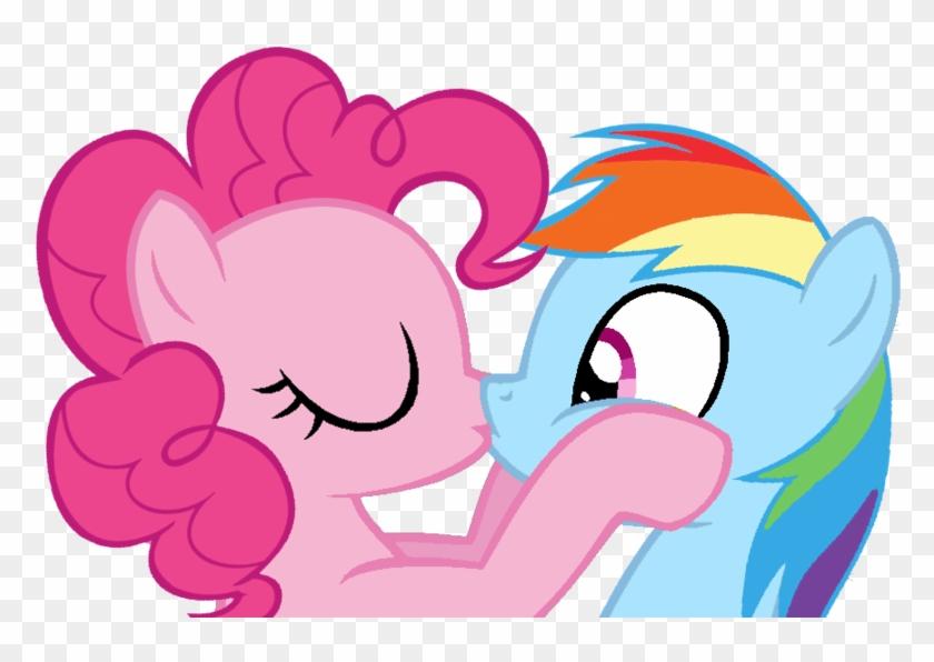 Kiss Clipart Rainbow - Pinkie Pie Kiss Rainbow Dash #165013