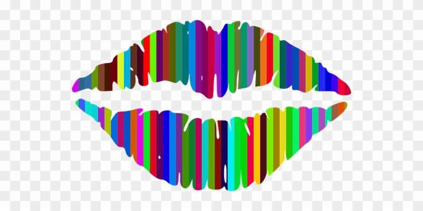 Abstract Art Chromatic Kiss Lips Lipstick - Kiss Me Throw Blanket #165703