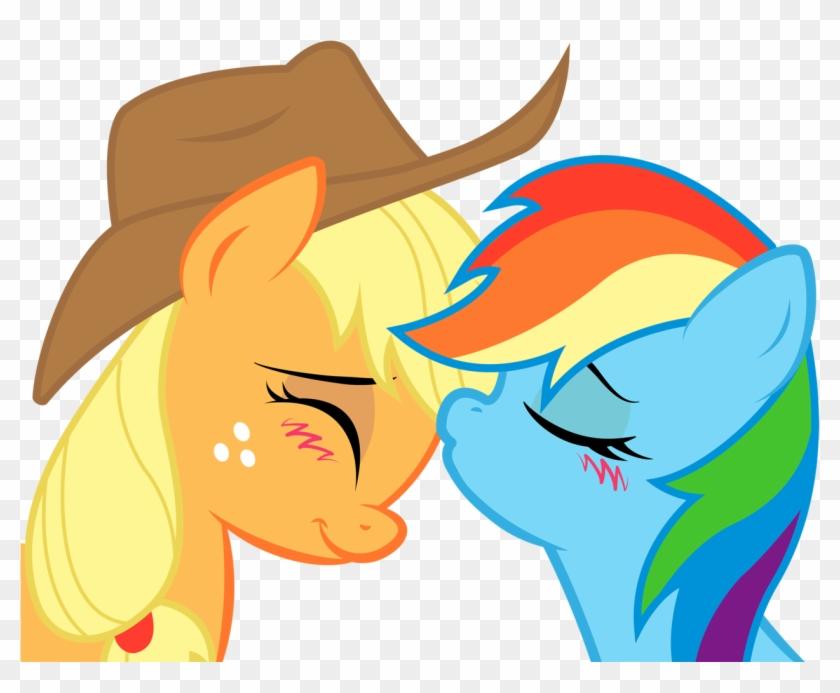 Картинки пони эпл джек и радуга дэш целуются