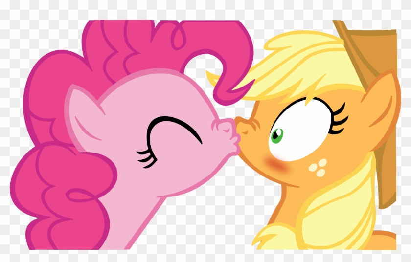 Applejack X Pinkie Pie Kissing Vector By Fluttair - Applejack X Pinkie Pie #166480