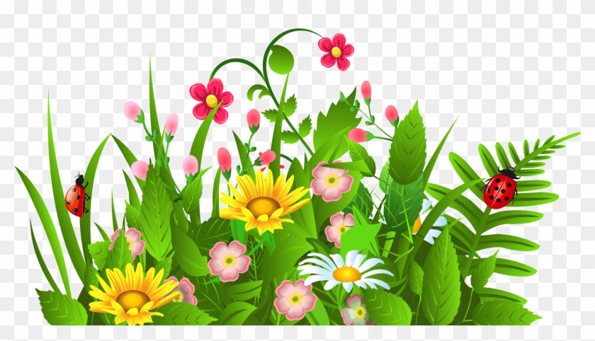 Cute Grass And Flowers Png Clipart Flower Garden Garden Clipart