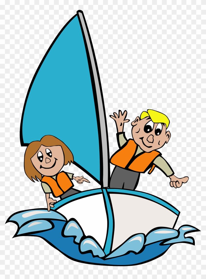 Vacation, Sailboat Children Playing Kid Girl Sailing - Sailing Clipart #167343