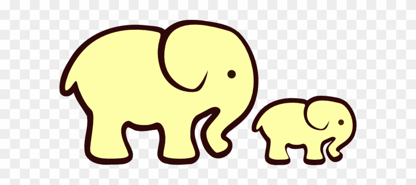 Yellow Elephant Mom Baby Clip Art At Clker Com Vector - Elephant Clipart Black And White #167359