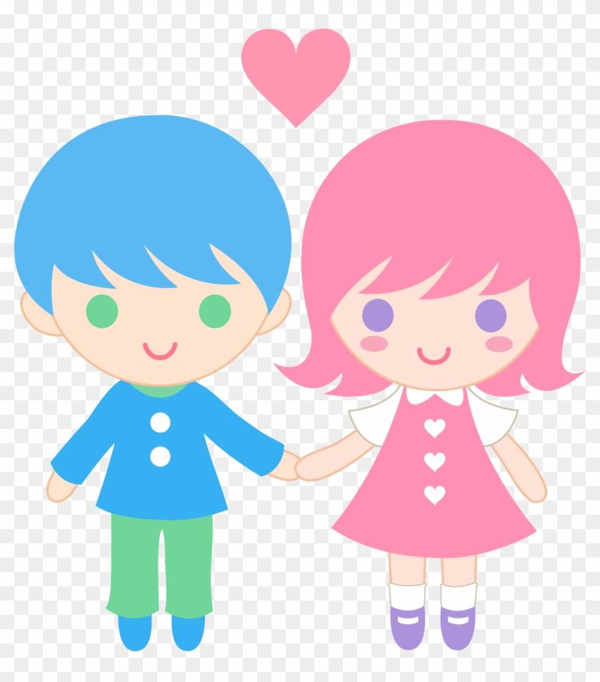 Cute Clip Art Of A Little Boy And Little Girl Holding - Boy And Girl Holding Hands Clipart #167368