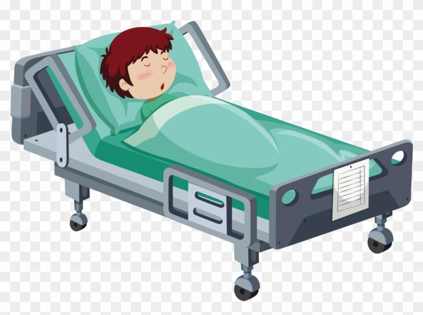 Hospital Bed Patient Clip Art - Cartoon Boy In Hospital Bed #167484