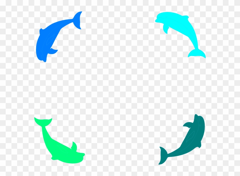 Dolphin Border Svg Clip Arts 600 X 535 Px - Fish Page Border Png #168183