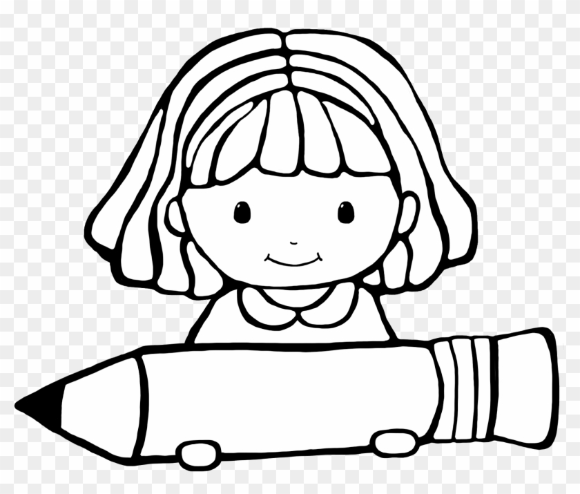 Girl Writing Clipart Black And White - Clipart Student Black And White #168652