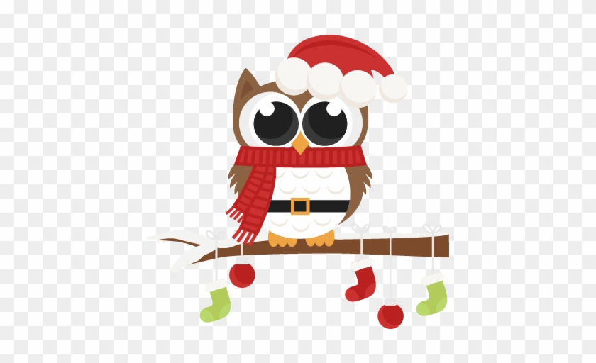 Owl Scrapbook Clip Art Christmas Cut Outs For Cricut - Christmas Owl Clip Art #169314