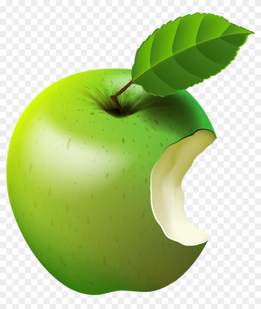 Bitten Apple Green Transparent Clip Art Image - Bitten Green Apple Png #169329