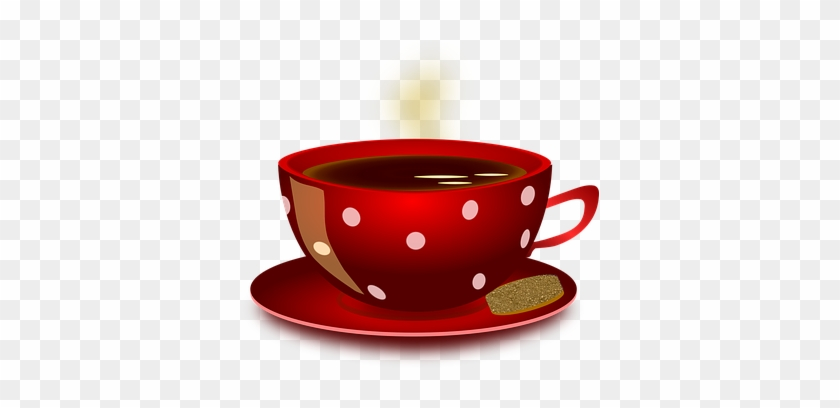 Cup Mug Coffee Hot Beverage Red Spots Cook - Hot Tea Cup Clip Art #169400