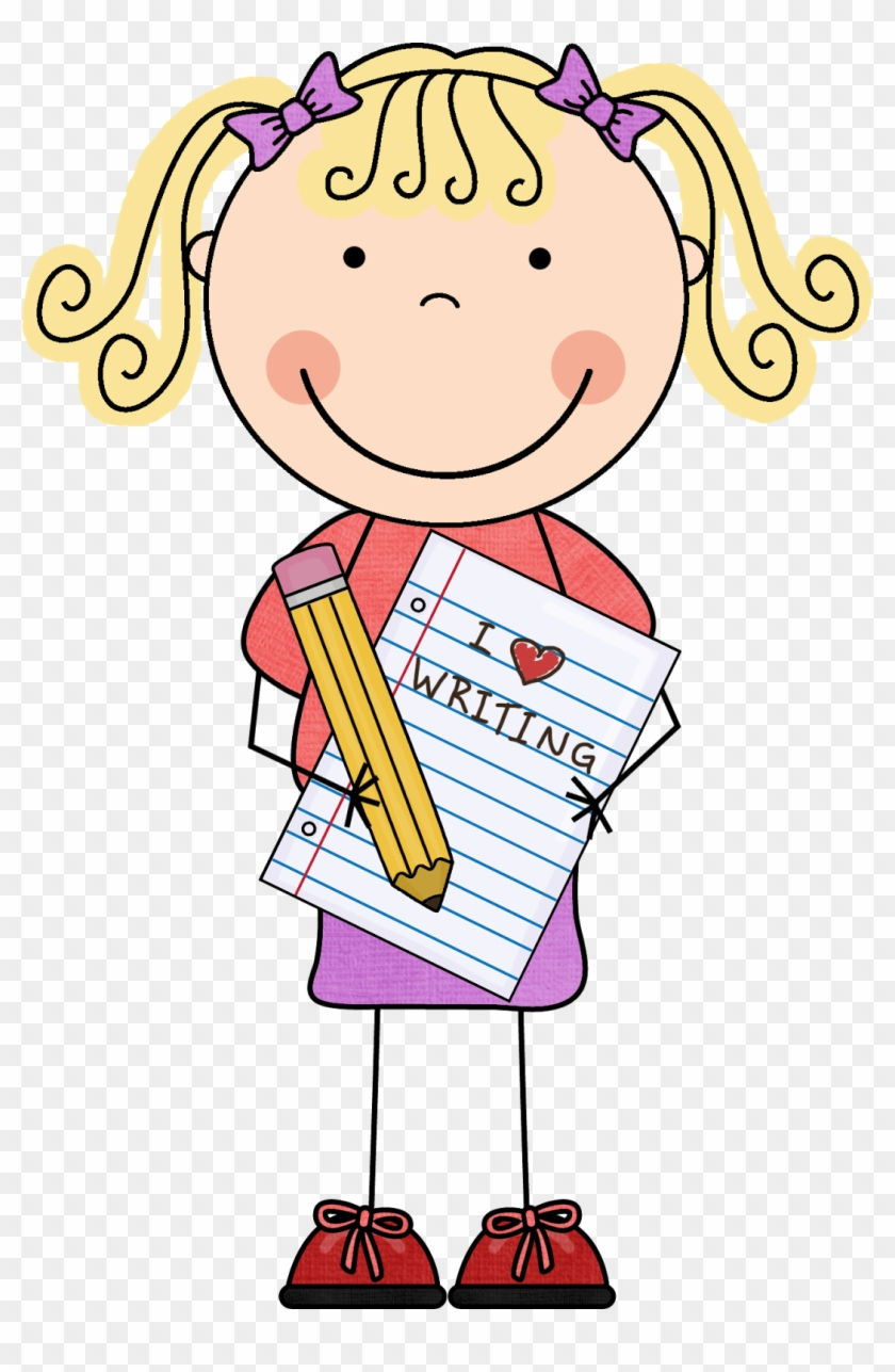 girl writing clipart - reading and writing poster - free transparent