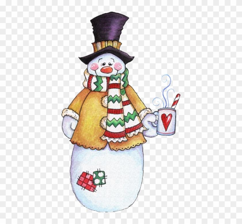 Clip Art Happy Winter Coffee Mugs - Snowman Drinking Hot Cocoa #907083