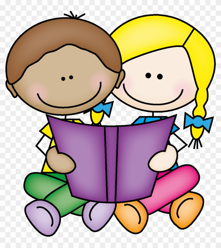 clipart of kids reading on rug - read with a buddy - free