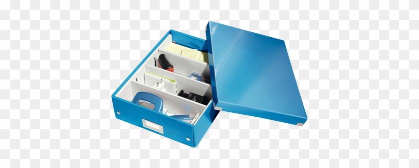 Organiser Box With 2-4 Flexible Compartments - Leitz Click & Store Medium A4 Organiser Box Blue #908023