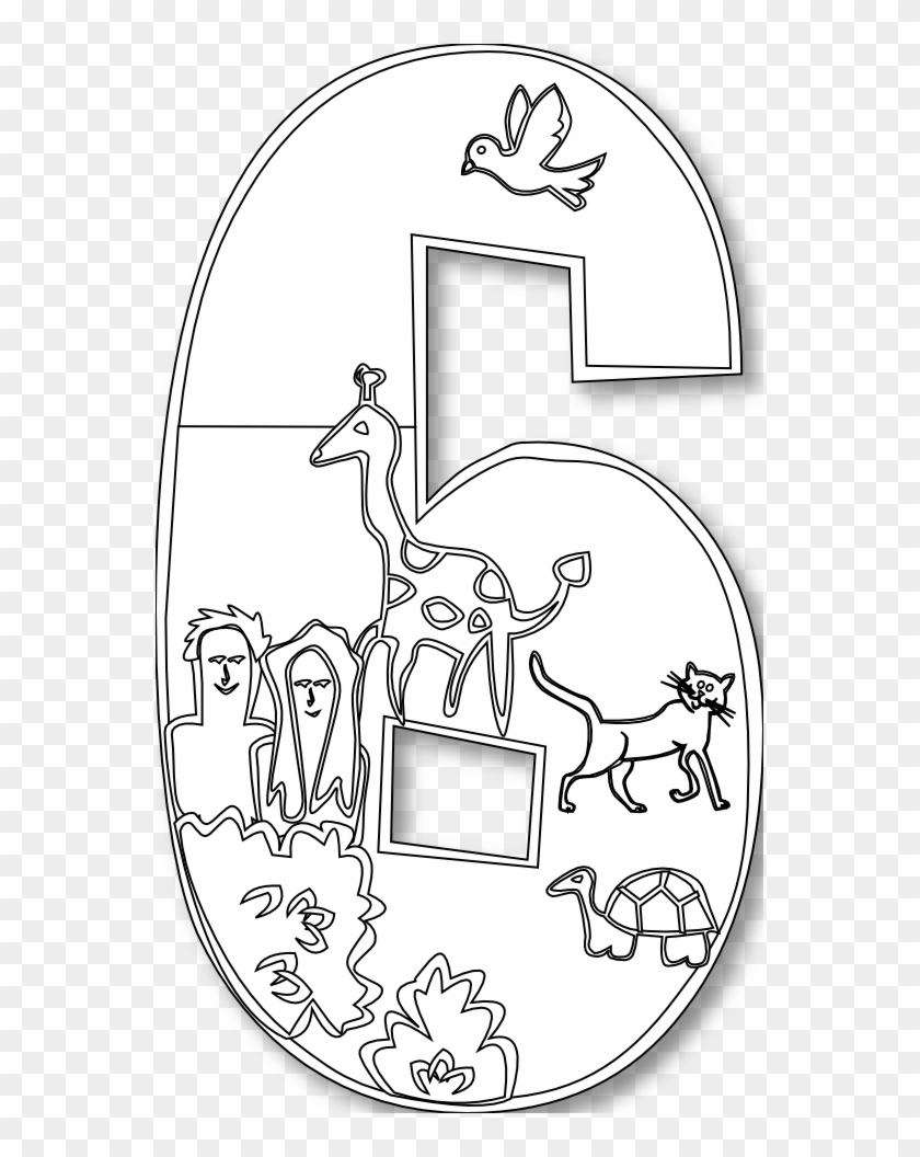 Creation Day 6 Number Ge 1 Black White Line Art Scalable - Day 6 Of Creation Coloring Page #910970