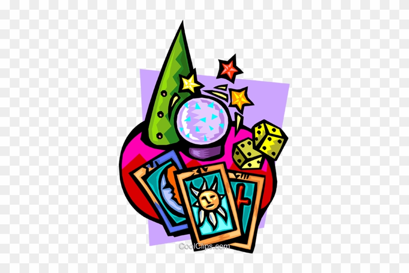 Crystal Ball With Tarot Cards And Dice Royalty Free - Tarot Cards Clipart #912008