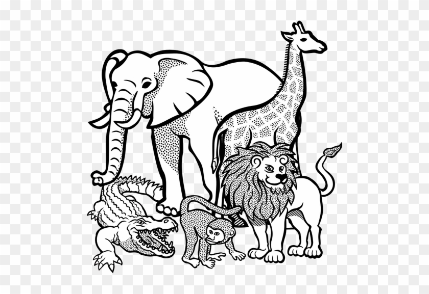 Outline Drawing Of African Animals Public Domain Vectors - Wild Animals  Coloring Page - Free Transparent PNG Clipart Images Download