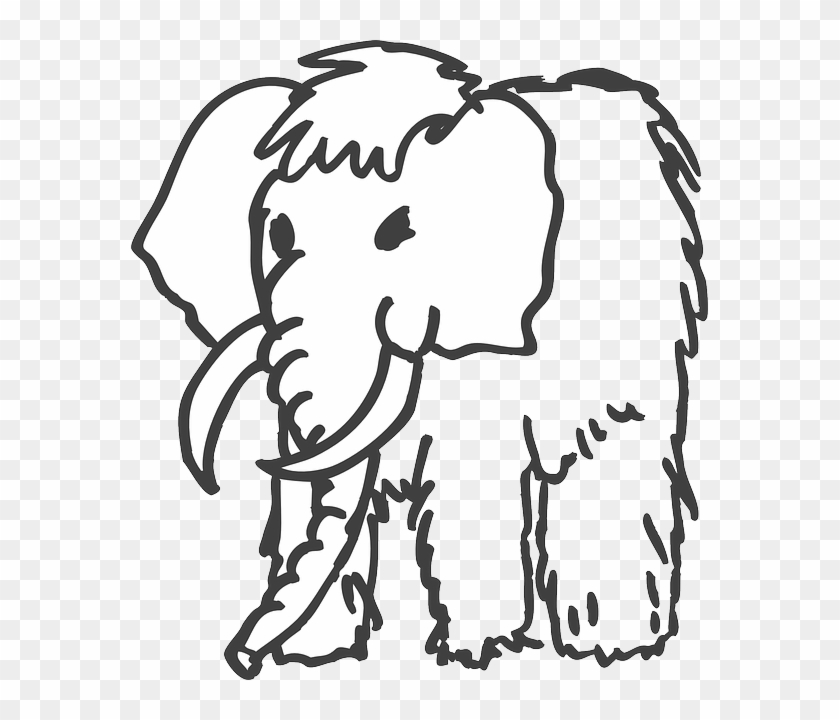 Tusks Outline, Art, Animal, Ancient, Mammoth, Fur, - Mammoth Clipart Black And White #915678