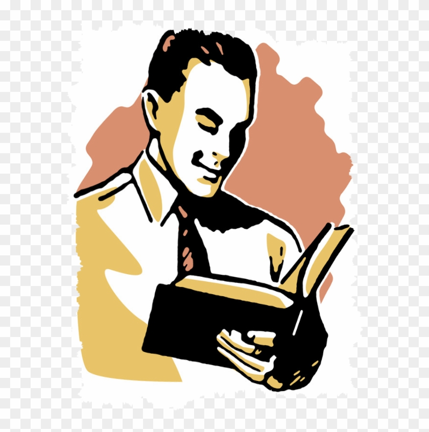 Good Businessman Reading - Man Reading A Book Drawing #916167