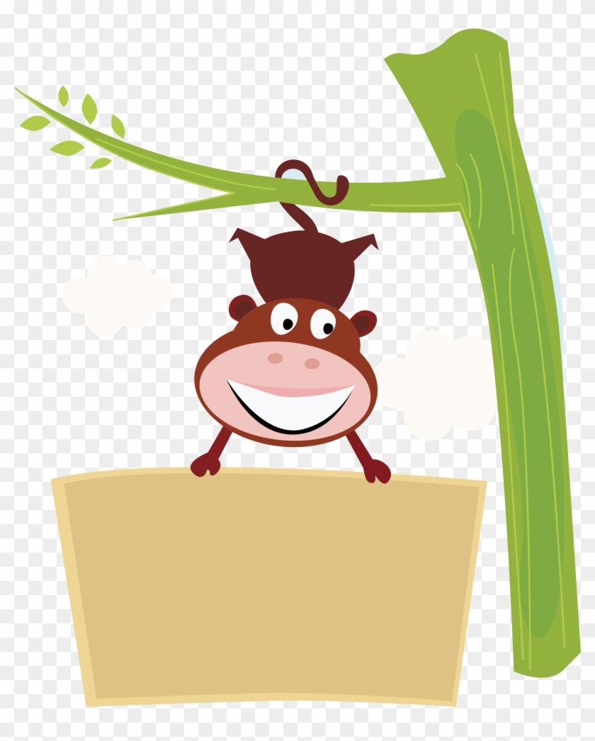 Chimpanzee Monkey Clip Art - Happy Cute Monkey Original Art Rectangular Belt Buckle, #919262