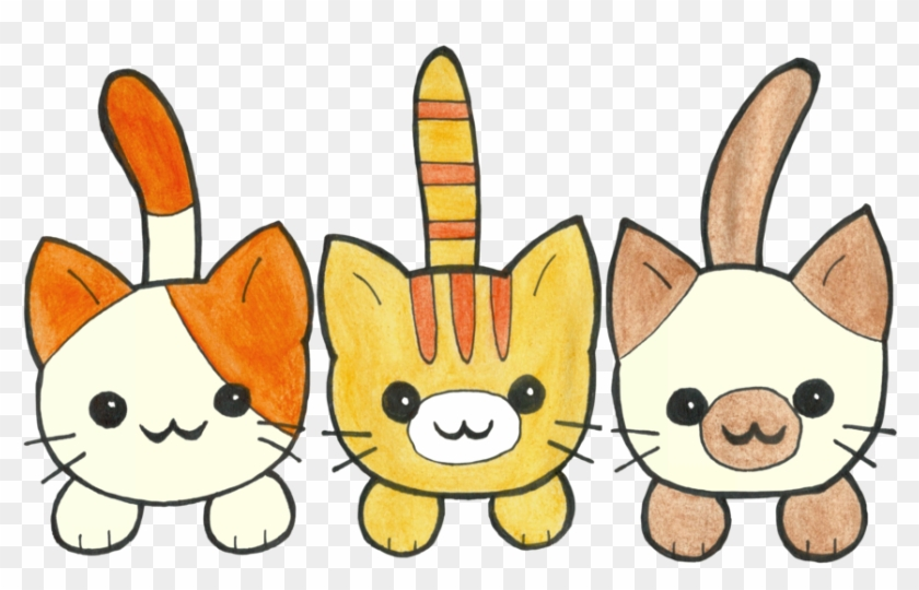 Three Cute Kittens By Paintedfairytale - Three Kittens Cartoon #919324