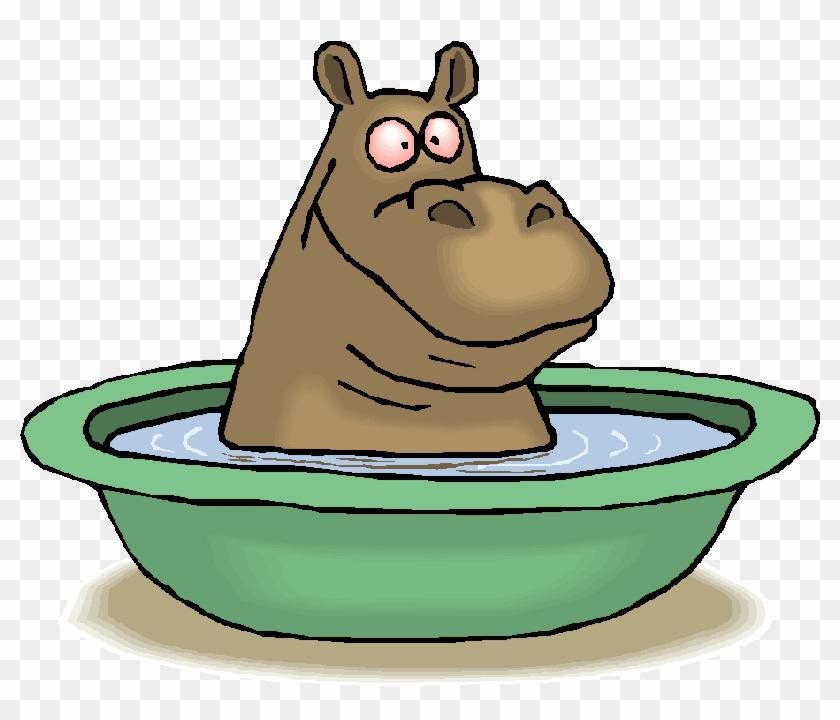 Hippo Bathing In Tub Throw Blanket #919955