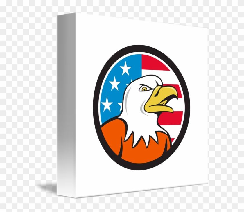 American Bald Eagle Head Angry Flag Circle Cartoon Bald Eagle