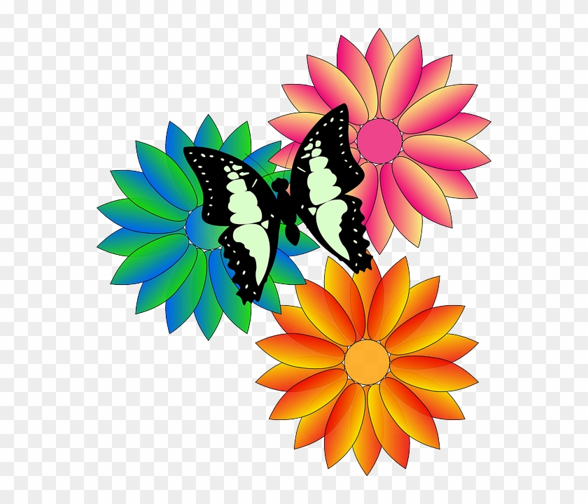 Fresh Spring Flowers Butterfly, Fresh, Spring, Flowers - Animated Flowers And Butterflies #923928