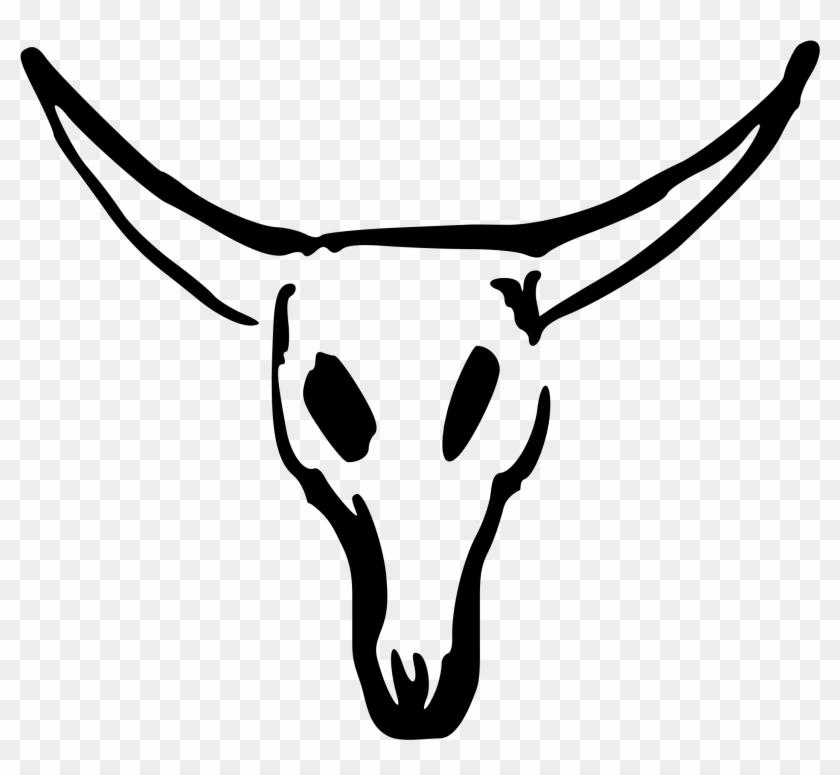 Cow Skull Black White Line Scallywag - Cow Skull Clipart #924068
