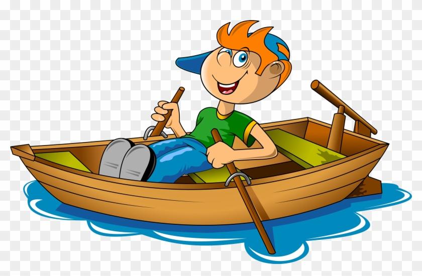 Rowing Boat Canoe Clip Art A Boy Rowing In The River - Row Boat Clip Art #924239
