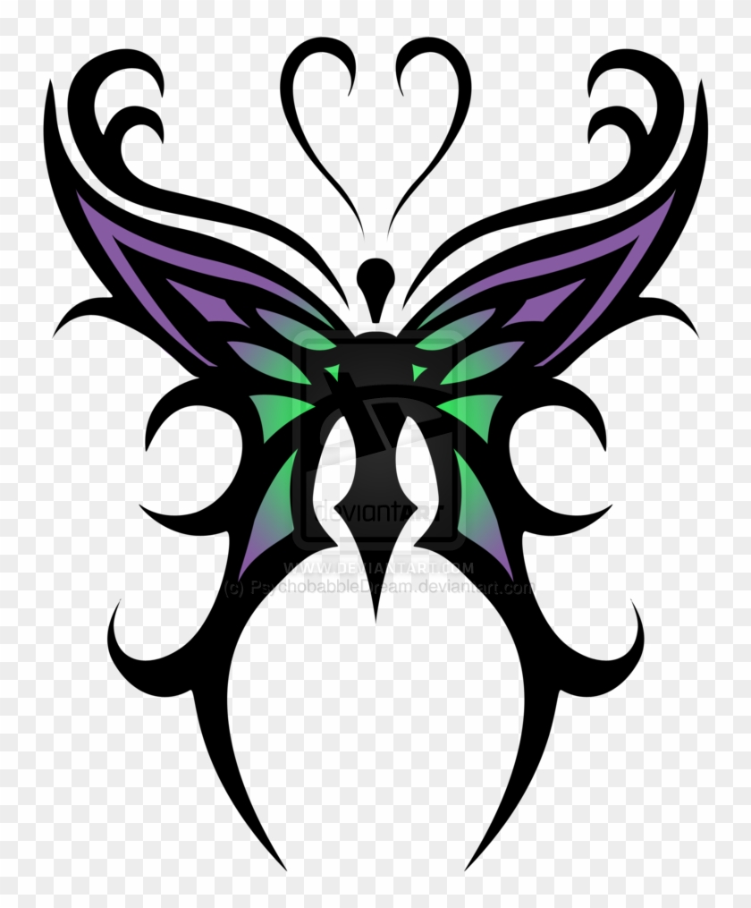 Tribal Butterfly Cross Tattoos - Tribal Butterfly Tattoo Designs #924493