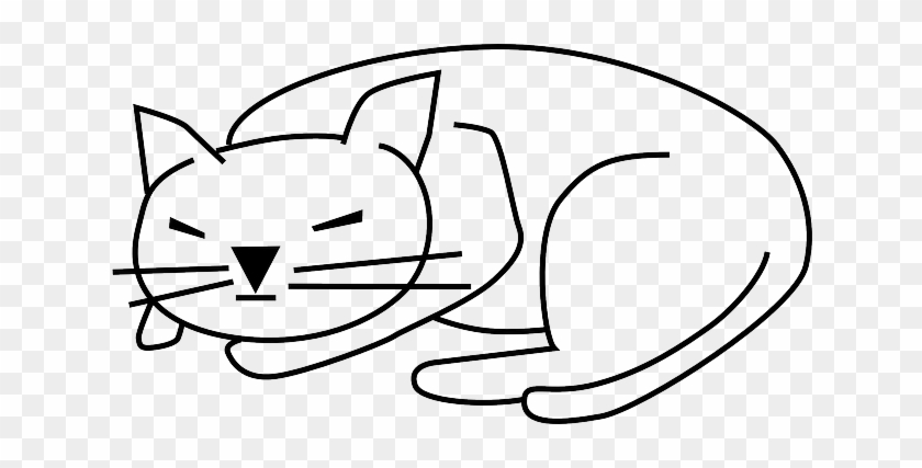 Cat Black Simple Outline Drawing Cat Clip Art Free