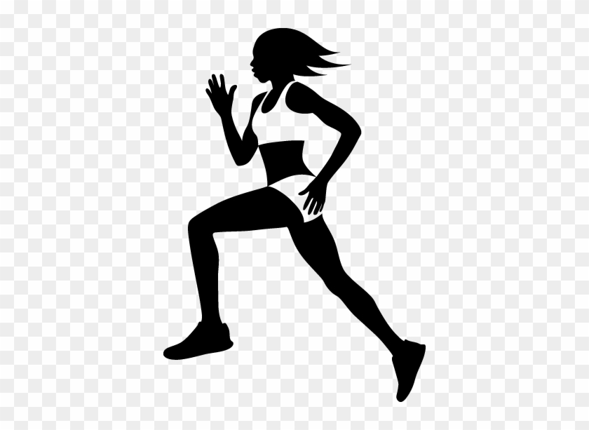 Female Runner Silhouette Wall Sticker - Calca De Malhar Azul #925724