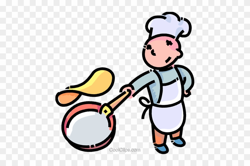 Boy Flipping A Pancake Royalty Free Vector Clip Art - Pancake Flipping Clipart #926389