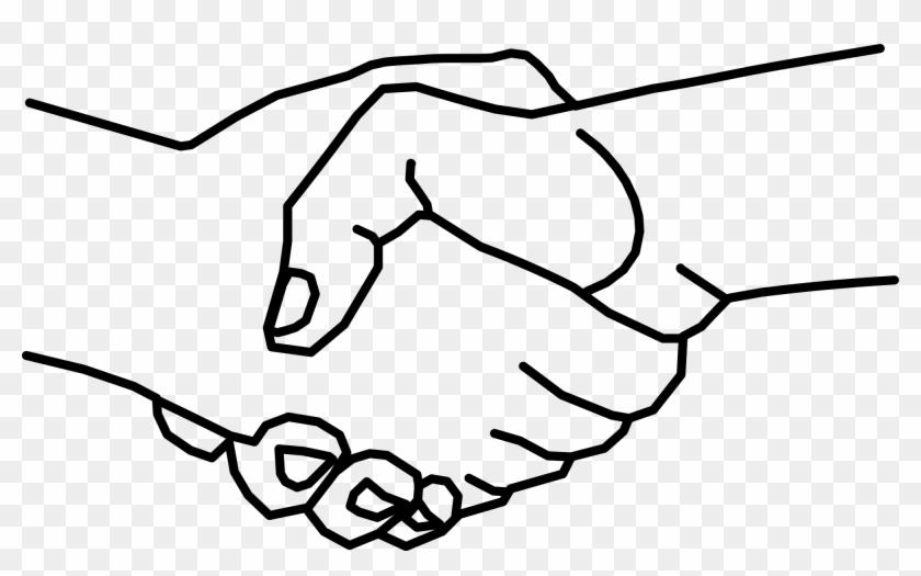 Black White Handshake Clipart - Hands Shaking Drawing Easy #926564