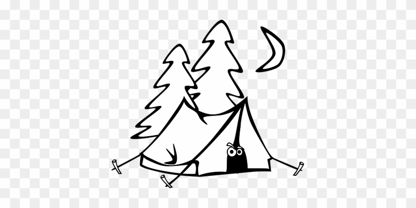 Camping Tent Eyes Trees Moon Night Cartoon - Camping Tent Clipart Black And White #931498