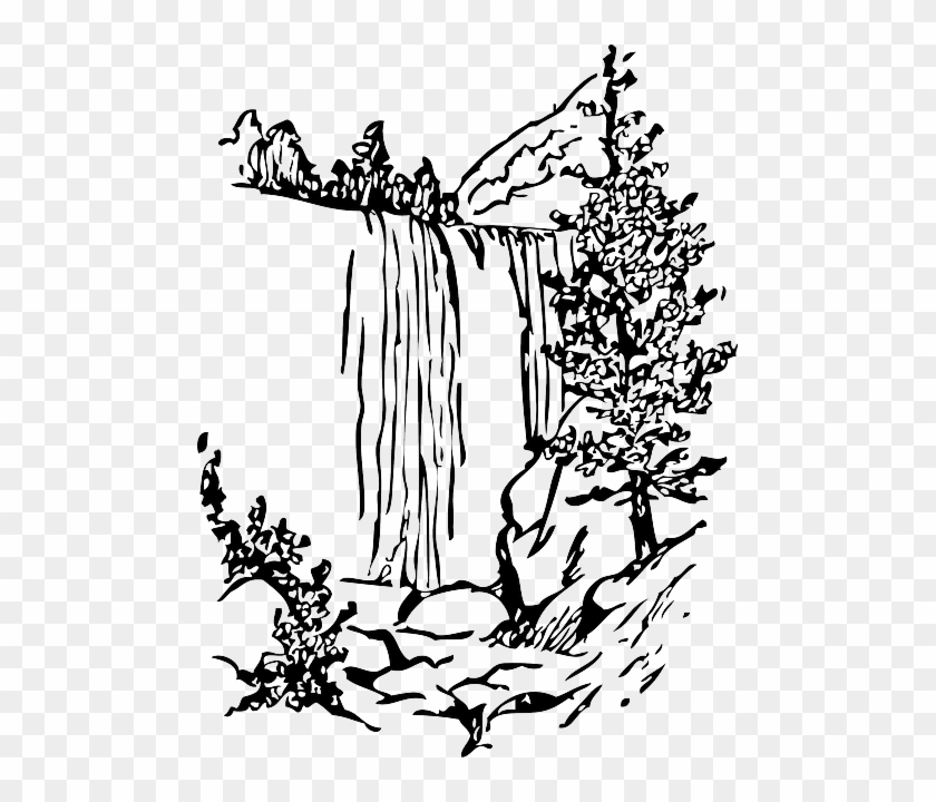 Water Black Fall Tree White Cartoon Nature Falls Waterfall