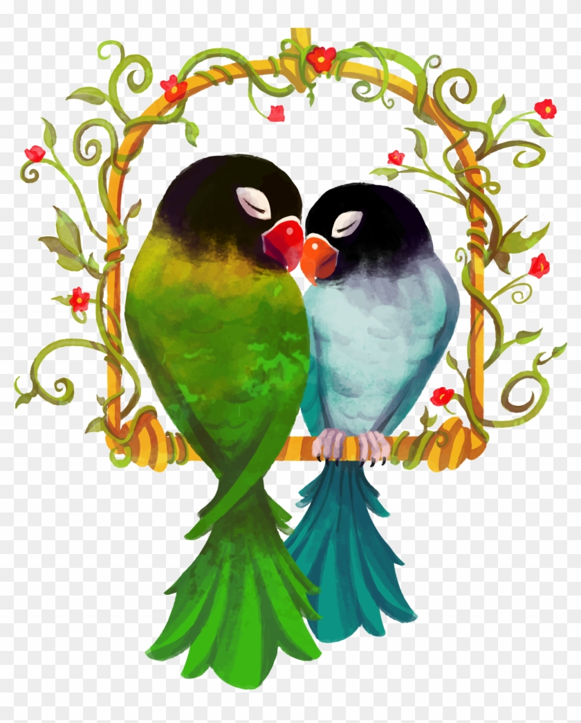 Rosy Faced Lovebird True Parrot Watercolor Painting - Love Birds Png Hd #935183