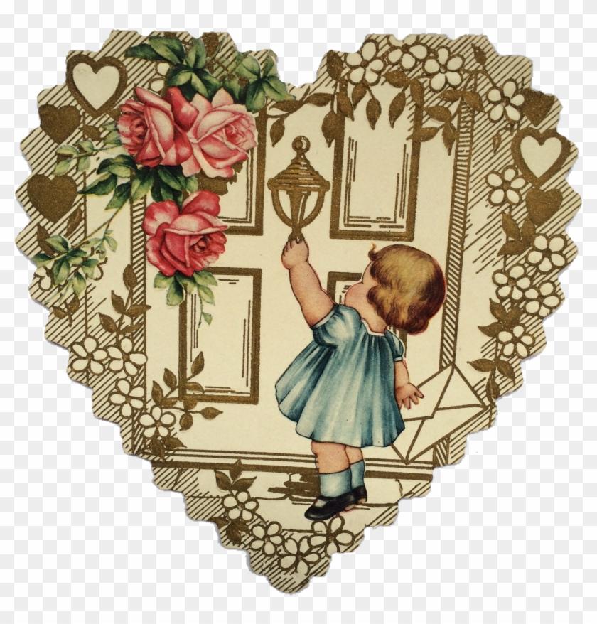 Vintage Valentines Cupids Door - Der Vintage Tag Des Valentines Karte #935298