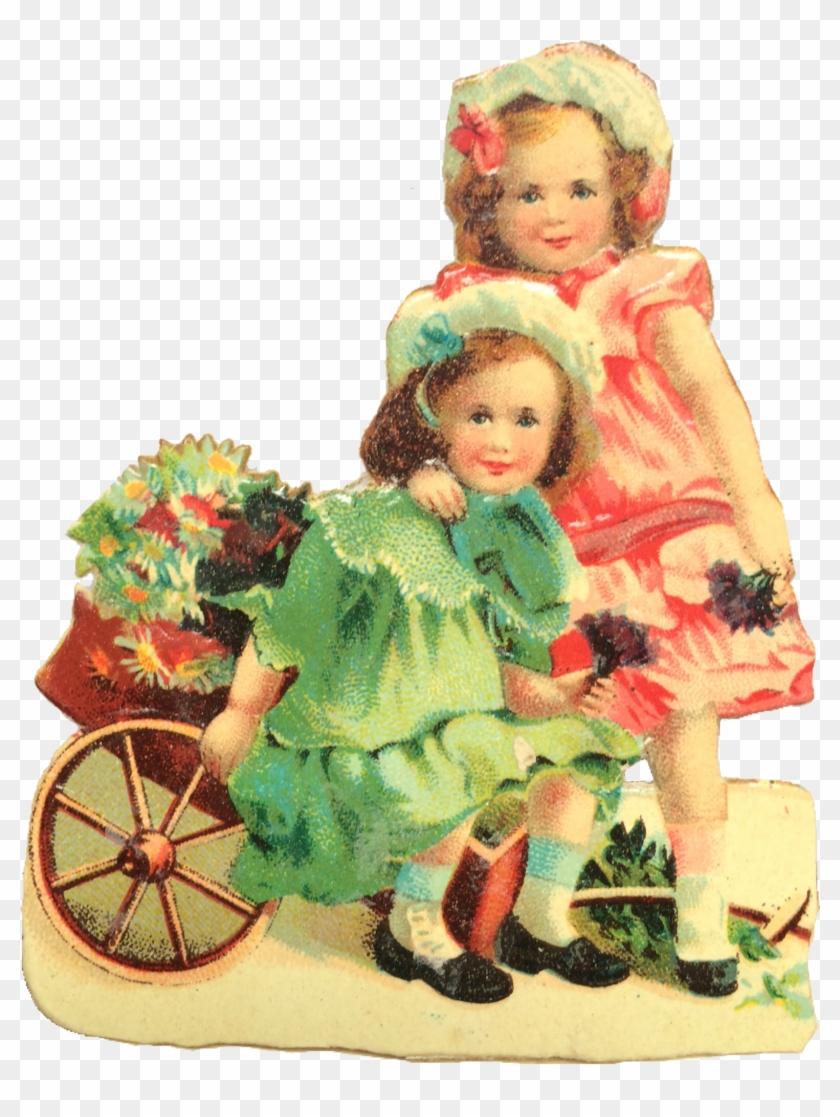 Vintage Valentine Girls And Flowers - Vintage Valentines Girls #935417