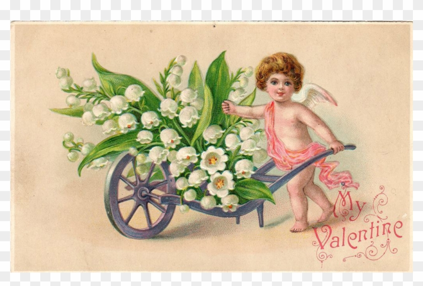 Cupid With Wheelbarrow Of Lilies Of The Valley Vintage - Vintage Valentine Cards #935451